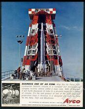 1960 USAF Atlas rocket ICBM launch pad color photo Avco vintage print ad