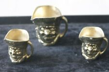 More details for 3 gold colour brass style toby jugs