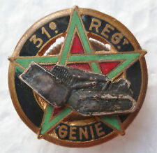 Insigne boutonnière 31° Régiment du Génie Maroc AFN Algérie Authentique 19 mm