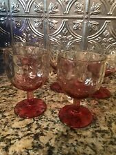 Barlett Collins Glass Pink Thumbprint Goblets Lot Of 5