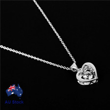 925 Sterling Silver Filled Simple Cute Heart Crystal Pendant Necklace