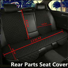 Blk Breathable Flax Rear Car Seat Cover Protector Back Cushion Mat w/ Backrest