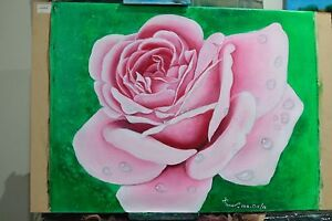 Art Original Oil painting Beautiful rose refreshed. by Sunlover