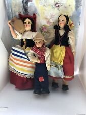 3 Vintage Ethnic Cloth Dolls Made in Italy and Eros, 8,7,5 Inches Tall