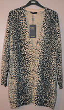 LADIES M&S PURE CASHMERE LONGLINE CARDIGAN - SIZE 8 - ANIMAL PRINT - BNWT