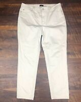 NYDJ Not Your Daughters Jeans Skinny ANKLE Beige size 14 Women's Denim Pants