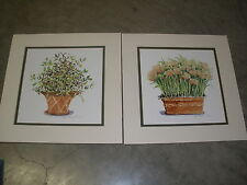 lot of 2 matching Homco pictures Clay Pot with flowers by Winterle Olson