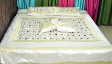 White Silk Bed Cover Sheet pillow set hand embroidered full Queen from India