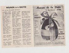 FEUILLET PUBLICITAIRE-LA MAISON DE LA DATTE à ALGER-ENTE PAR COLIS POSTAUX