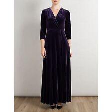 Bruce Womens Velvet Deep Purple Maxi Dress Size 8 Brand New RRP £249