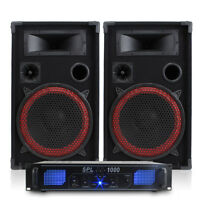 2x MAX 2 x 6 Speakers EQ Power Amplifier Cables Bedroom DJ Disco Party 1200W