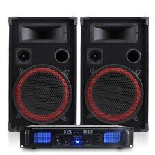 2x Max 12 Inch Speakers + Skytec SPL-1000 EQ Amplifier + Cables 700W Essex
