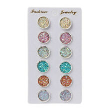 6 Pairs Stainless Steel Shiny Colorful Crystal Round Stud Earrings Set Jewelry