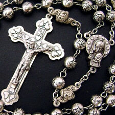 Silver rose beads Catholic 5 DECADE Rosary case Cross Gift Box Italy crucifix