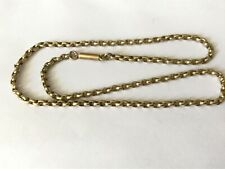 """Antique Victorian 1890's gold plated barrel end chain necklace. 16 1/2"""""""