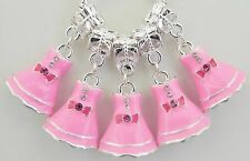 5 Pink Enamel Dress Charm with Stones European Style 14 * 31 & 5 mm Hole R054