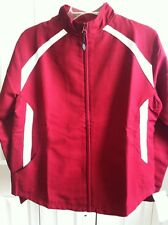 WOMANS RUSSELL ATHLETIC CRANBERRY & WHITE JACKET SIZE MEDIUM NEW WITH TAGS