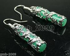 Pretty Imperial Inlay Natural Green Jade Dragon 925 Silver Earrings