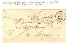 1829 LETTRE PORT PAYE 59 ALENCON 34 x11 + CACHET DATEUR + VV CONTROLE DU PP