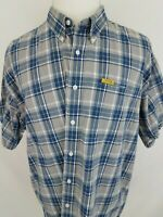 Chaps Ralph Lauren Vintage Blue Grey Plaid Short Sleeve Casual Shirt XL
