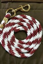 Horse Nylon Lead Rope 80 inches with brass Swivel Snap -maroon/white Candy Cane