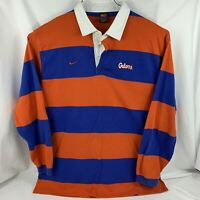 Vintage Nike Florida Gators Dri-Fit Blue Orange Stripe Long Sleeve Polo Size 2XL