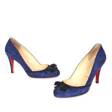 CHRISTIAN LOUBOUTIN Blue Suede Leather Lavalliere Black Bow Pumps, Size 37