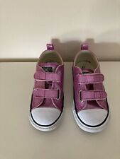 Girls Sparkly Pink Convers Shoes Size Infant 9 Good Condition