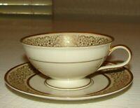Vintage Bavaria Germany Hutschenreuther 18 K Gold Encrusted Tea Cup & Saucer
