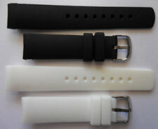 22mm NST BFC 2 Replacement Black White Silicone Band Fit Nautica Watch N14555G