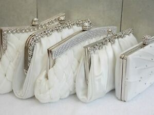 Ivory Diamante Crystal Satin Bridal Wedding Prom Purse Clutch Handbag Bag UK