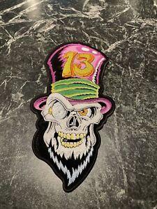 "Vtg Motorcycle Jacket Patch 12"" Iron On Skull #13 Top Hat Biker Bike Vest Beard"