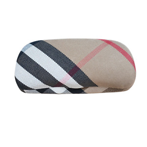 Burberry Clamshell Hard Eyeglasses Case Nova Plaid Check Fabric Made in Italy