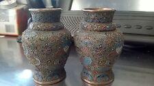 Antique Wire inlay color metal vases pair