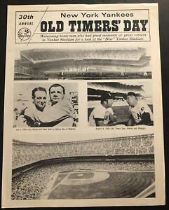 1976 New York YANKEES OLD TIMERS DAY Hand Out MICKEY MANTLE Dimaggio Babe RUTH
