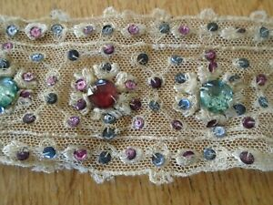 LENGTH OF ANTIQUE CIRCA 1920'S HAND BEADED COTTON NET LACE