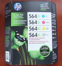 4-Pack Genuine HP 564XL Cyan Magenta Yellow Photo Ink Photosmart 7525 Exp. 2017