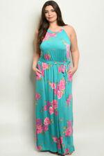 Womens Plus Size Sleeveless Emerald Green Maxi Dress 2XL Pockets Floral