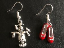 FUNKY WIZARD OF OZ  MISMATCHED odd earrings scarecrow & ruby red shoes