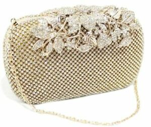 Ladies Gold Leaf Ornate Clasp Diamante Stone Crystal bag Clutch Purse Prom Party