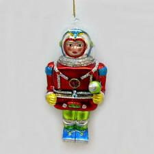 "SPACEMAN w RAY GUN GLASS ORNAMENT 4"" Outer Space Age Retro Sci Fi Christmas Tree"