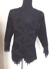 Women's SMH Suede Crochet Fringe Boho Jacket - Sz L Black