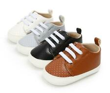 Newborn Baby Boy Crib Shoes Infant Faux Leather Comfortable Rubber Sole Sneakers