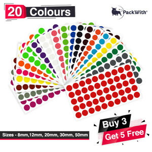 All Sizes Colored Dot Stickers Round Spot Circles Dots Paper Labels *20 COLORS*