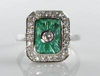 CLASS 9K 9CT WHITE GOLD COLOMBIAN EMERALD & DIAMOND ART DECO INS RING FREE SIZE