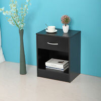 Bedroom Night Stand Bedside Table Furniture Open Storage W/Drawer End Table