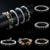 Transparent Beaded Friendship Bracelet Crystal Fashion Elastic Bangle Jewelry