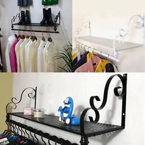 Heavy Duty Wall Mounted Clothes Rail Shelf Garment Hanging Wardrobe Display Rack