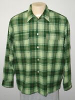 Vintage Stussy Wool/Polyester Blend Green Plaid Flannel Shirt Men XL