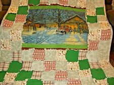 Old Fashioned Town Square, Lots of Colors,, Warm and Large Rag Quilt